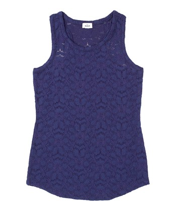 Indigo Bottle Lace Tank - Girls
