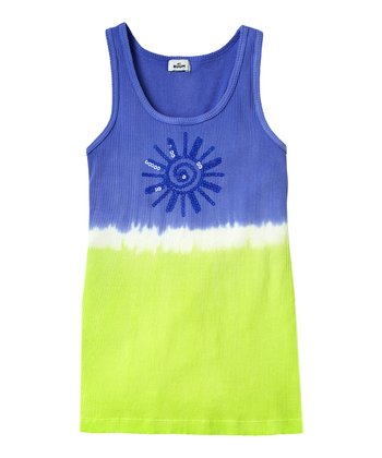 Periwinkle Blue Dip-Dyed Boyfriend Tank - Girls