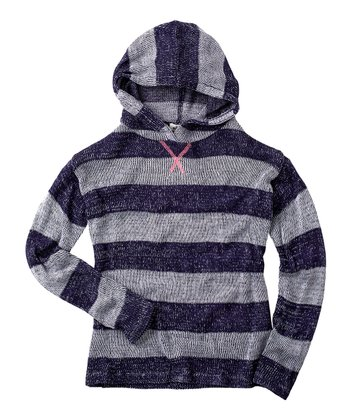 Ink Blue Stripe Hoodie - Girls