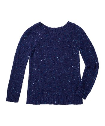 Indigo Bottle Sequin Sweater - Girls