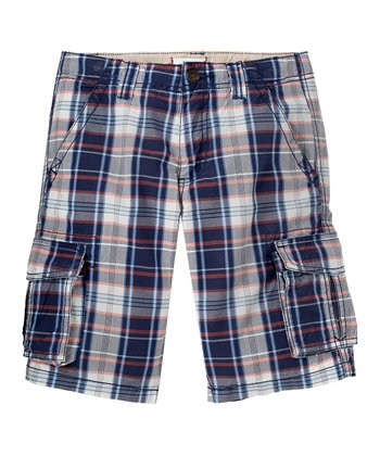 New Navy Plaid Cargo Shorts - Boys