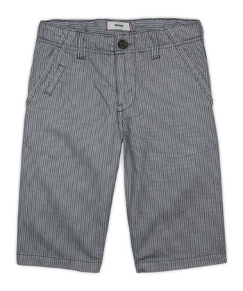 Iron Gray Stripe Shorts - Boys