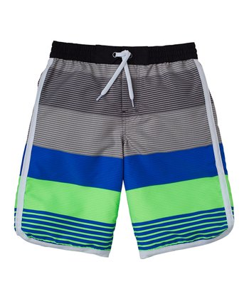 Neon Lime Variegated Stripe Swim Trunks - Boys