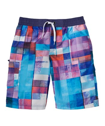 Waterfall Blue Color Block Swim Trunks - Boys