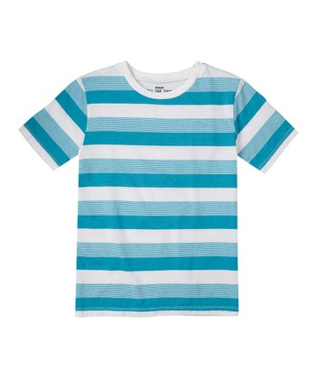 Bay Blue Heather Stripe Tee - Boys