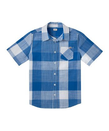 Deep Oceanic Blue Plaid Button-Up - Boys