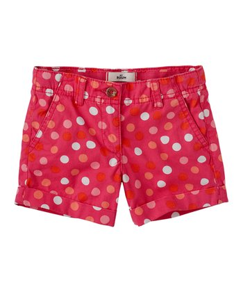 Raspberry Polka Dot Shorts - Infant, Toddler & Girls