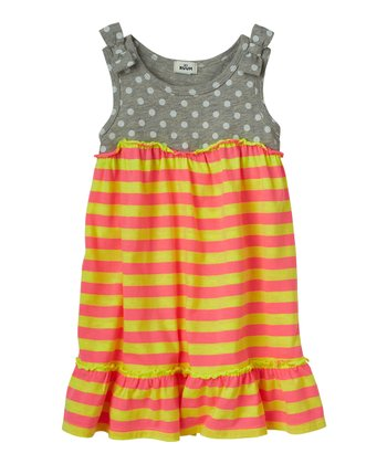 Heather Gray & Yellow Stripe Dress - Infant, Toddler & Girls