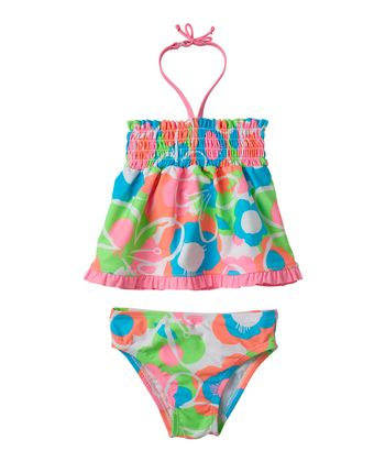 Cotton Candy Floral Shirred Tankini - Infant, Toddler & Girls