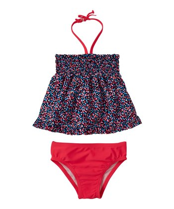 Diva Pink Confetti Shirred Tankini - Infant & Toddler