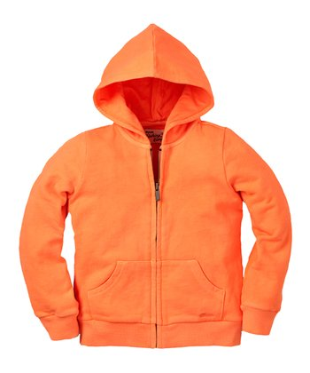 Neon Orange Zip-Up Hoodie - Infant & Toddler