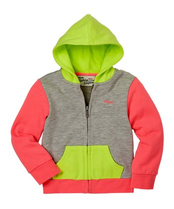 Heather Gray Color Block Zip-Up Hoodie - Infant & Toddler