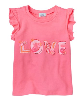 Dazzling Neon Pink 'Love' Tee - Infant, Toddler & Girls