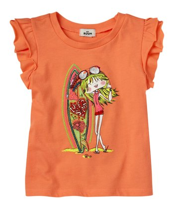 Neon Orange Surfer Girl Tee - Infant & Toddler
