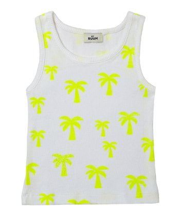 Neon Yellow Palm Tree Boyfriend Tank - Infant & Toddler