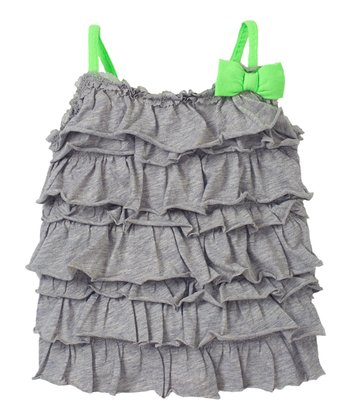 Heather Gray Ruffle Bow Tank - Infant & Toddler