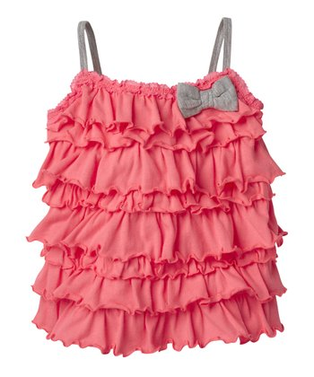 Neon Rose Ruffle Bow Tank - Infant & Toddler