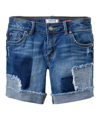 Malibu Wash Patch Denim Shorts - Girls