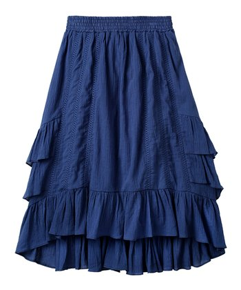 Ink Blue Ruffle Skirt - Girls