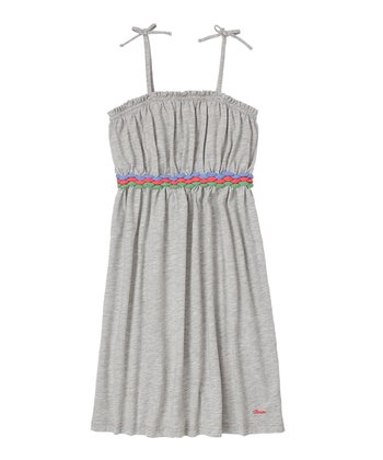 Heather Gray Braided Belt Dress - Girls