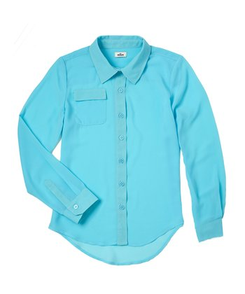 Aquamarine Chiffon Button-Up - Girls