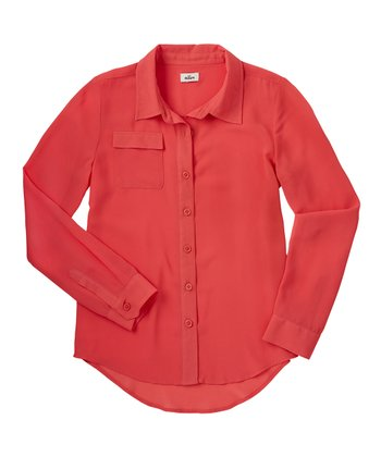 Guava Jam Chiffon Button-Up - Girls