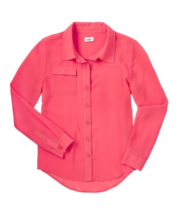Neon Rose Chiffon Button-Up - Girls