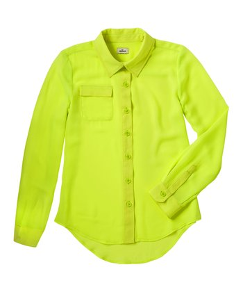 Neon Yellow Chiffon Button-Up - Girls