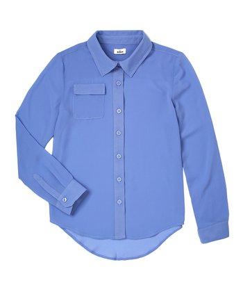 Periwinkle Blue Chiffon Button-Up - Girls