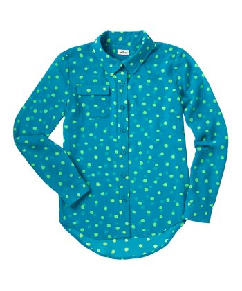 Bay Blue Polka Dot Chiffon Button-Up - Girls