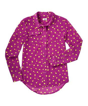 Magenta Purple	Polka Dot Chiffon Button-Up - Girls