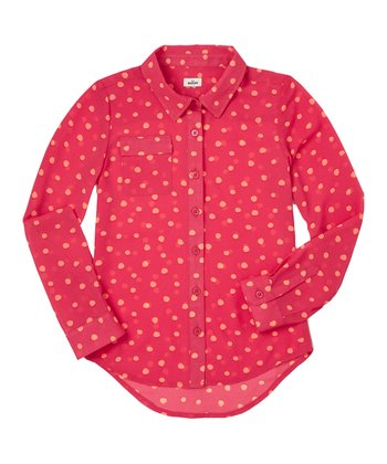 Raspberry Polka Dot Chiffon Button-Up - Girls