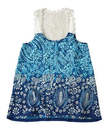 Indigo Bottle Crocheted Tank - Girls
