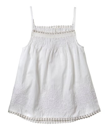 White Embroidered Tank - Infant, Toddler & Girls