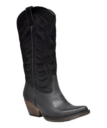 Black Ingrain Cowboy Boot