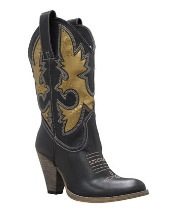 Black & Gold Rio Grande Cowboy Boot