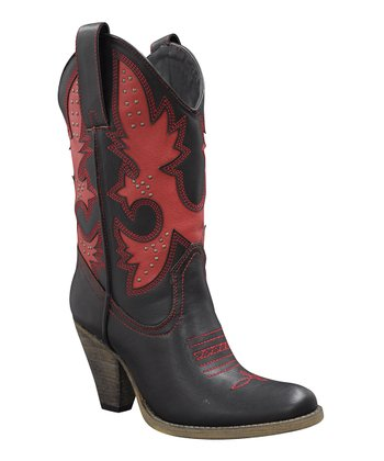 Black & Red Rio Grande Cowboy Boot