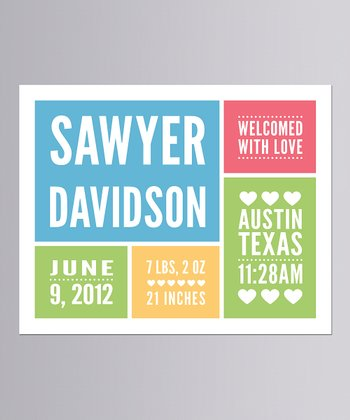Blue 'With Love' Personalized Announcement Print