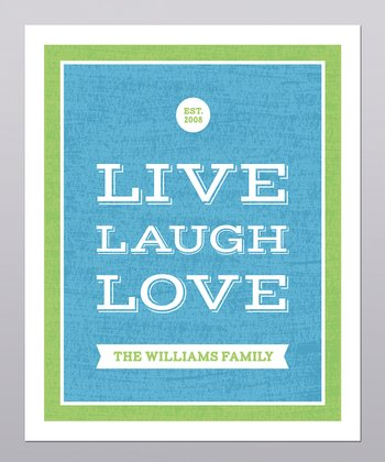 Blue & Green 'Live, Laugh, Love' Personalized Print