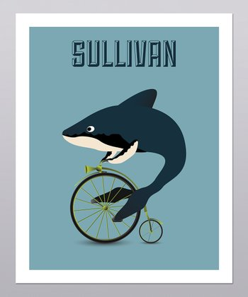 Shark on Bicycle Personalized Print