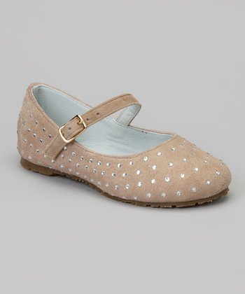 Cream Rhinestone Suede Mary Jane