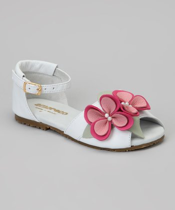 Cream & Pink Flower Ankle-Strap Sandal