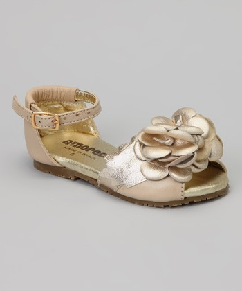 Gold Flower Ankle-Strap Sandal