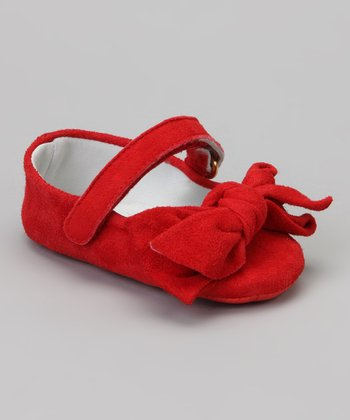 Red Bow Suede Mary Jane
