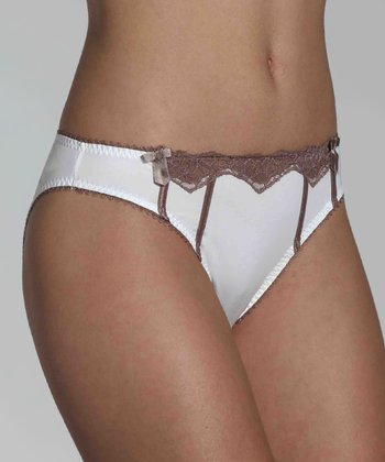White Gourmandise Microfiber Lace Bikini Brief - Women