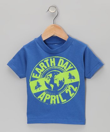 Royal Blue Earth Day Stamp Tee - Toddler & Boys
