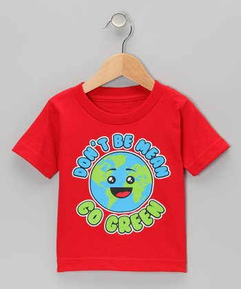 Red 'Don't Be Mean Go Green' Tee - Toddler & Kids