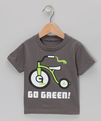 Charcoal 'Go Green!' Tricycle Tee - Toddler & Kids