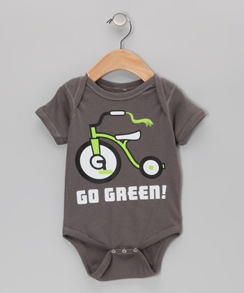 Charcoal 'Go Green!' Tricycle Bodysuit - Infant