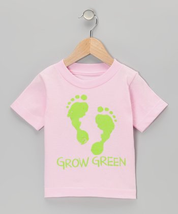 Light Pink 'Grow Green' Footprint Tee - Infant, Toddler & Girls